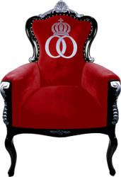 Pompöös by Casa Padrino luxury baroque armchair Bergere red / black / silver - Pompöös baroque armchair designed by Harald Glööckler