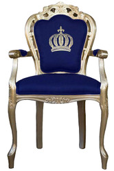 Pompöös by Casa Padrino luxury baroque dining chair with armrests blue / gold - Pompöös baroque chair designed by Harald Glööckler