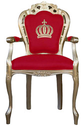 Pompöös by Casa Padrino luxury baroque dining chair with armrests red / gold - Pompöös baroque chair designed by Harald Glööckler