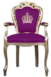 Pompöös by Casa Padrino luxury baroque dining chair with armrests purple / gold - Pompöös baroque chair designed by Harald Glööckler