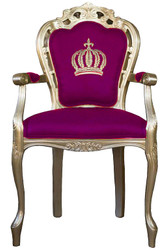 Pompöös by Casa Padrino luxury baroque dining chair with armrests pink / gold - Pompöös baroque chair designed by Harald Glööckler