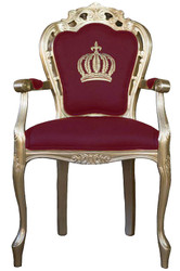 Pompöös by Casa Padrino luxury baroque dining chair with armrests burgundy / gold - Pompöös baroque chair designed by Harald Glööckler