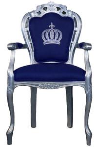 Pompöös by Casa Padrino luxury baroque dining chair with armrests blue / silver - Pompöös baroque chair designed by Harald Glööckler – Bild 1