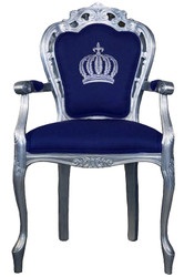 Pompöös by Casa Padrino luxury baroque dining chair with armrests blue / silver - Pompöös baroque chair designed by Harald Glööckler