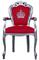 Pompöös by Casa Padrino luxury baroque dining chair with armrests red / silver - Pompöös baroque chair designed by Harald Glööckler