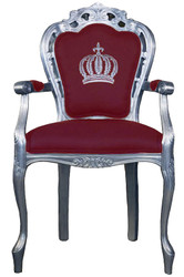 Pompöös by Casa Padrino luxury baroque dining chair with armrests burgundy / silver - Pompöös baroque chair designed by Harald Glööckler