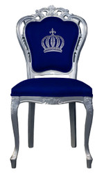 Pompöös by Casa Padrino luxury baroque dining chair blue / silver - Pompöös baroque chair designed by Harald Glööckler