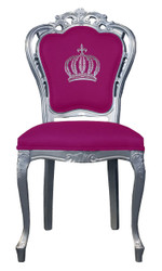 Pompöös by Casa Padrino luxury baroque dining chair pink / silver - Pompöös baroque chair designed by Harald Glööckler