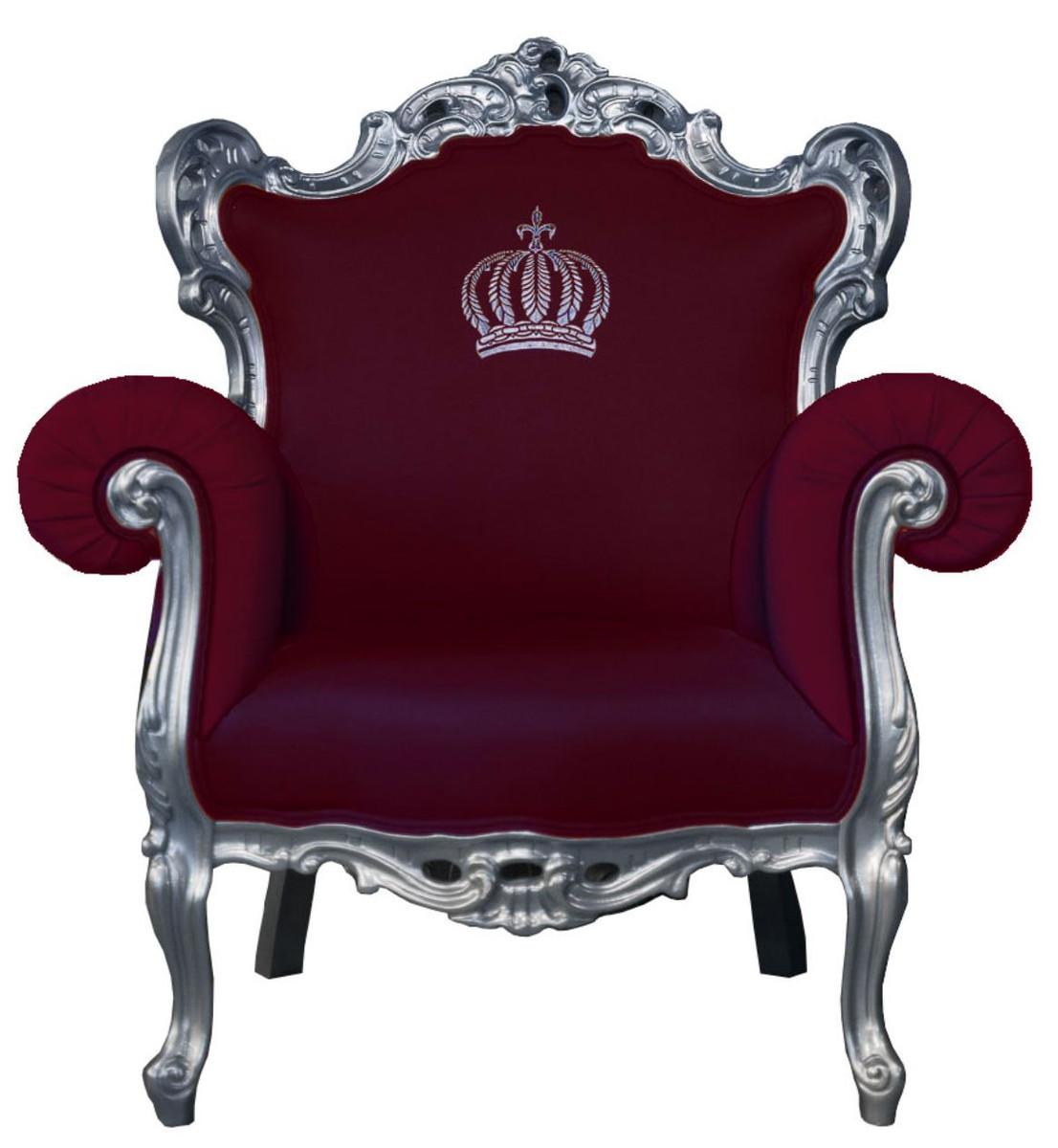 Pompöös By Casa Padrino Luxury Baroque Armchair Burgundy / Silver   Pompöös Baroque  Armchair Designed By