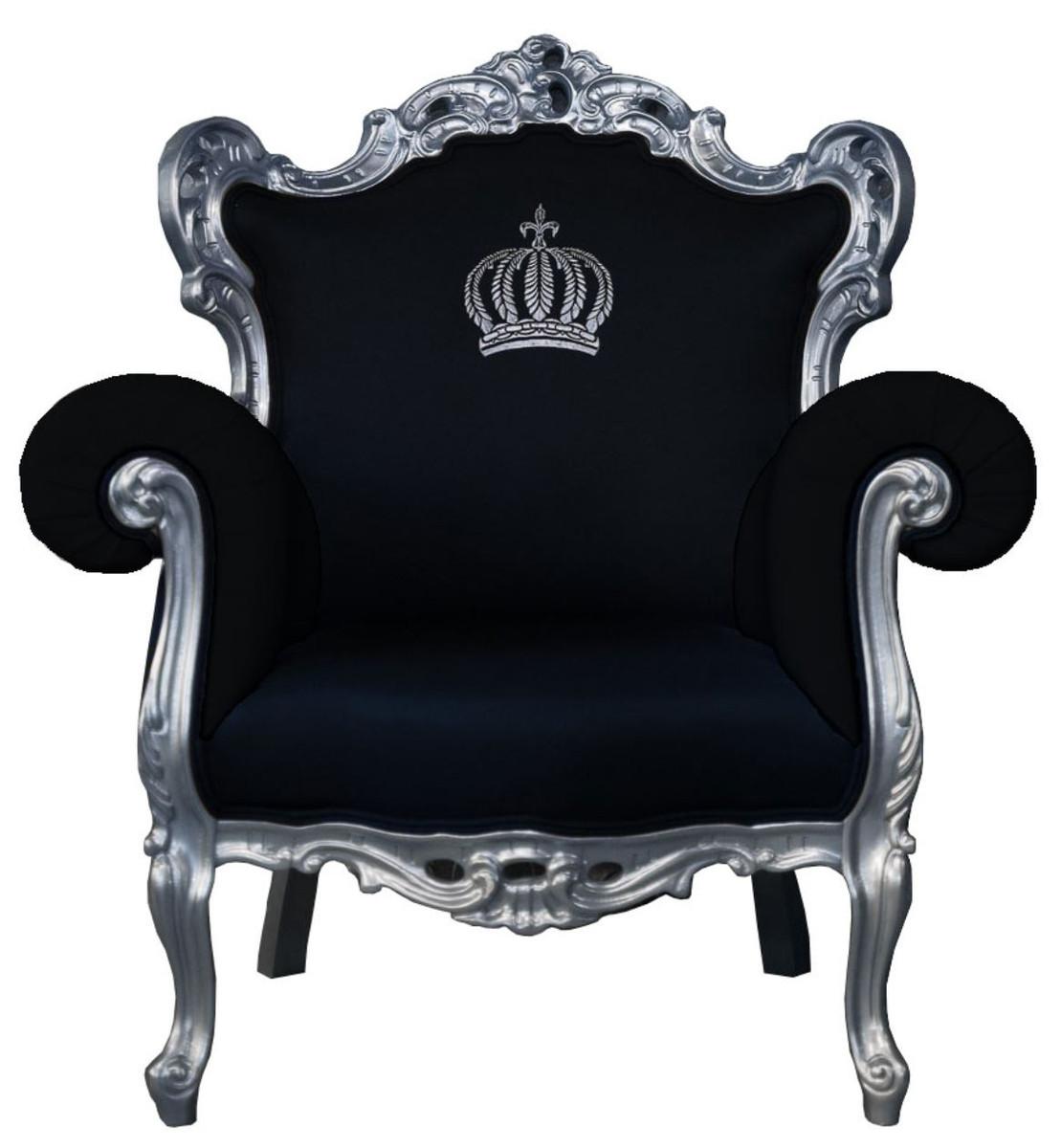 Pompoos By Casa Padrino Luxus Barock Sessel Schwarz Silber