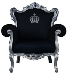 Pompöös by Casa Padrino luxury baroque armchair black / silver - Pompöös baroque armchair designed by Harald Glööckler