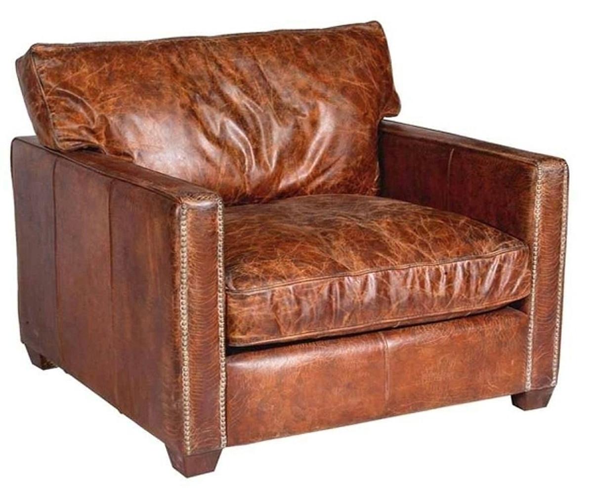 Casa Padrino Luxus Leder Sessel Vintage Braun 100 X 100 X H 89 Cm