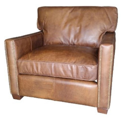 Casa Padrino luxury leather armchair vintage light brown 100 x 100 x H. 89 cm - Genuine Leather Furniture