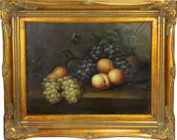 Hand painted baroque oil painting fruit still life gold pageantry frame 54 x 44 cm
