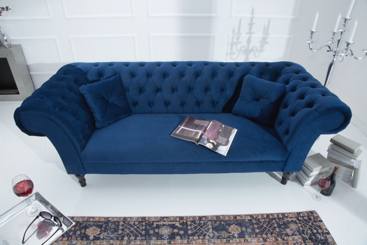 casa padrino chesterfield sofa in blau 225 x 90 x h 79 cm designer chesterfield sofa sofas. Black Bedroom Furniture Sets. Home Design Ideas
