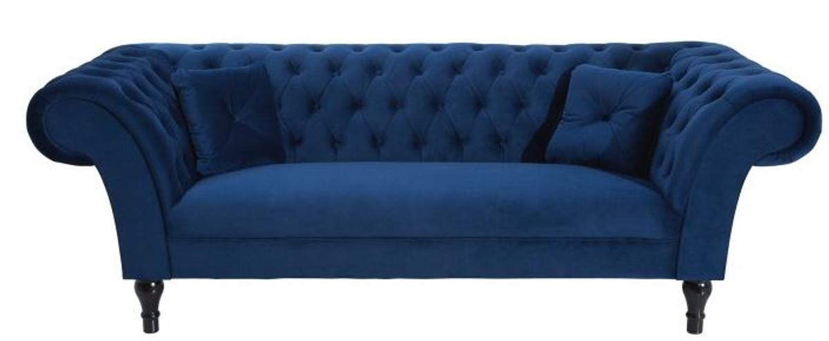 casa padrino chesterfield sofa in blau 225 x 90 x h 79 cm designer chesterfield sofa sofas. Black Bedroom Furniture Sets. Home Design Ideas