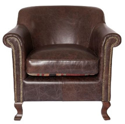 Casa Padrino luxury leather armchair dark brown 88 x 81 x H. 79 cm - Genuine Leather Furniture