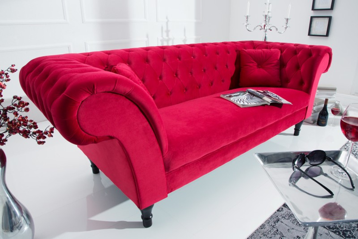 casa padrino chesterfield sofa in rot 225 x 90 x h 79 cm designer chesterfield sofa sofas. Black Bedroom Furniture Sets. Home Design Ideas