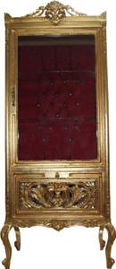 Casa Padrino Baroque Display Cabinet Gold / Bordeaux - Display Cabinet - Living Room Cabinet Glass Cabinet - Antique Look – Bild 1