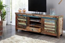 Casa Padrino Designer Sideboard Mehrfarbig  B.150 x H.60 x T.40 - Fernsehschrank - Kommode - Handgefertigt - Massivholz