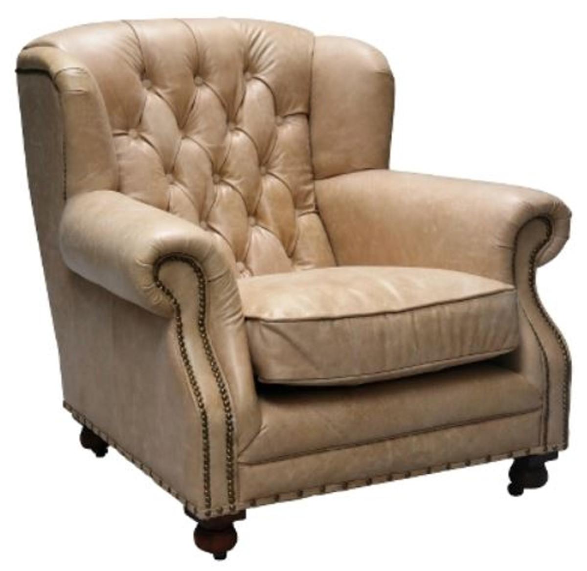 Casa Padrino Luxus Echtleder Sessel Beige 92 X 97 X H 89 Cm