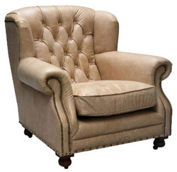 Casa Padrino Luxury Genuine Leather Armchair Beige 92 x 97 x H. 89 cm - Chesterfield Living Room Furniture