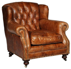 Casa Padrino Luxury Genuine Leather Armchair Brown 92 x 97 x H. 89 cm - Chesterfield Living Room Furniture