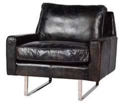 Casa Padrino luxury genuine leather armchair vintage black / silver 87 x 86 x H. 83 cm - Leather Furniture