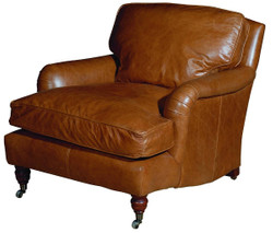 Casa Padrino luxury genuine leather armchair brown 88 x 111 x H. 81 cm - Leather Furniture
