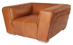 Casa Padrino genuine leather armchair brown 131 x 110 x H. 67 cm - Luxury Leather Furniture