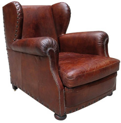 Casa Padrino luxury leather ears armchair red brown 87 x 100 x H. 93 cm - Genuine Leather Furniture