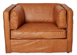 Casa Padrino luxury leather armchair brown 106 x 99 x H. 73 cm - Genuine Leather Furniture