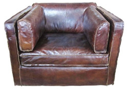 Casa Padrino luxury leather armchair dark brown 106 x 99 x H. 73 cm - Genuine Leather Furniture