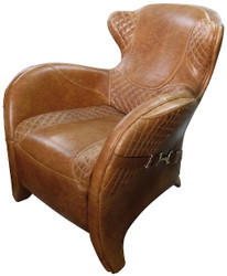 Casa Padrino Luxury Art Deco Genuine Leather Armchair Brown 79 x 85 x H. 85 cm - Luxury Collection