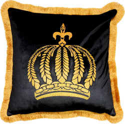 Harald Glööckler luxury decorative cushion Pompöös by Casa Padrino Black / gold crown with rhinestones