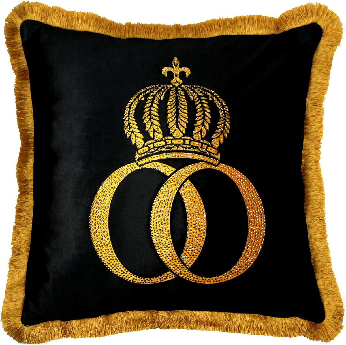 harald gl ckler kissen pomp s by casa padrino schwarz gold krone deluxe mit strass steinen. Black Bedroom Furniture Sets. Home Design Ideas