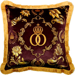 Harald Glööckler Pompöös Cushion by Casa Padrino Bordeaux Red / Gold Crown Deluxe with Rhinestones - Glööckler Luxury Baroque Cushion
