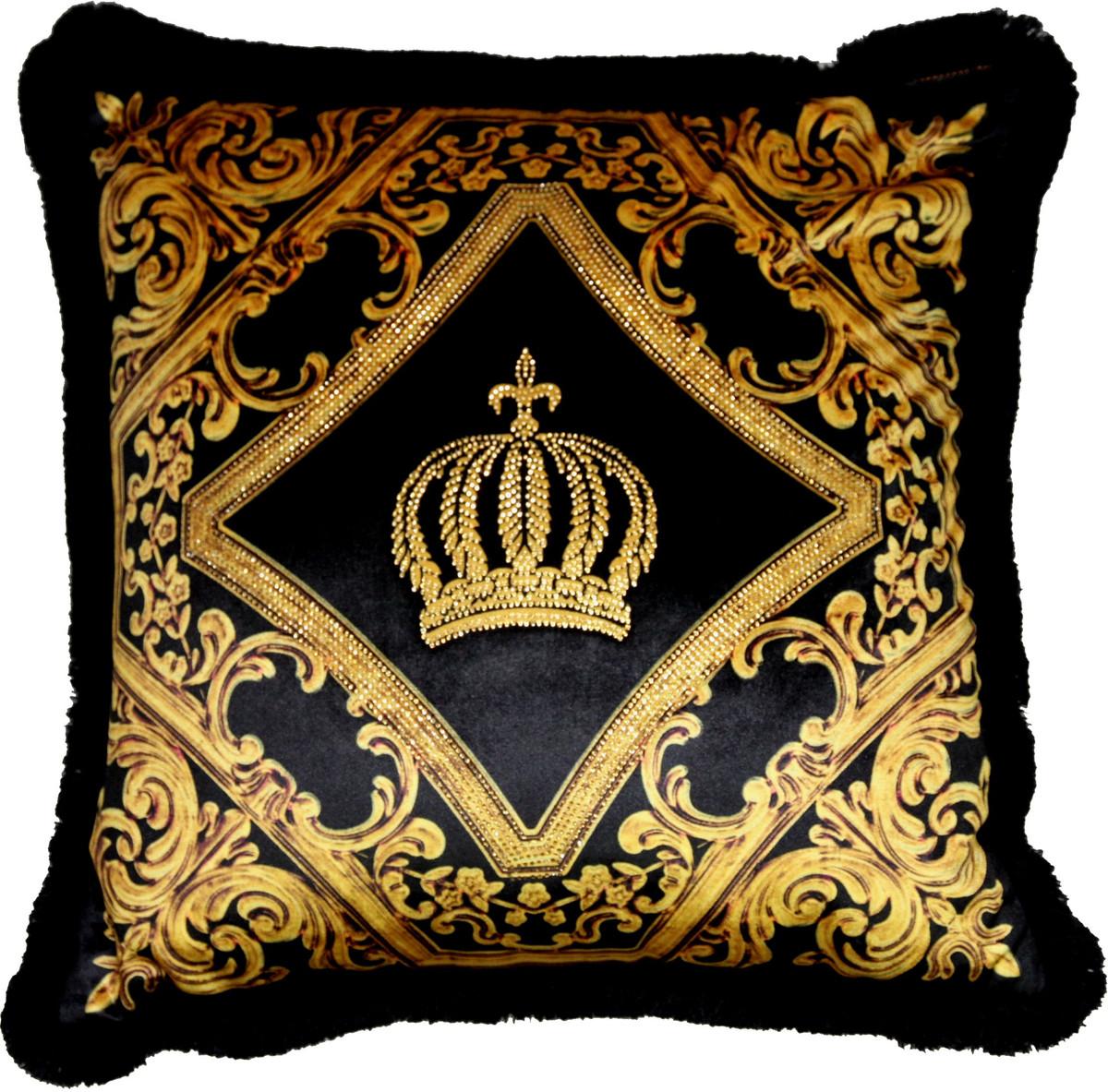 harald gl ckler luxus deko barock zierkissen pomp s by casa padrino schwarz gold krone. Black Bedroom Furniture Sets. Home Design Ideas