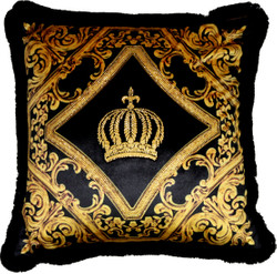 Harald Glööckler Luxury Baroque Decorative Pillow Pompöös by Casa Padrino Black / Gold Crown Deluxe with rhinestones