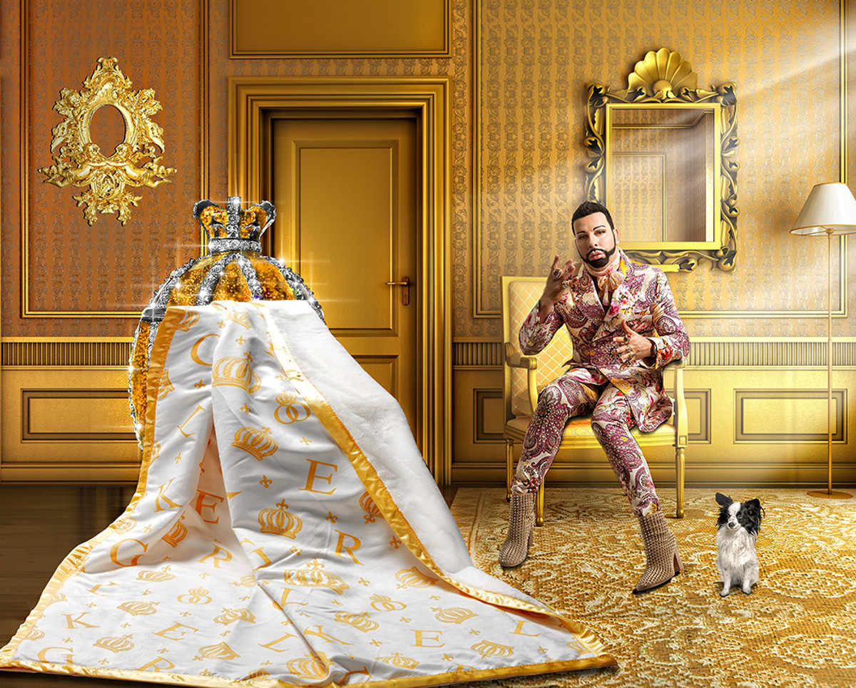 harald gl ckler designer wohndecke 150 x 200 cm krone wei gold casa padrino luxus barock. Black Bedroom Furniture Sets. Home Design Ideas