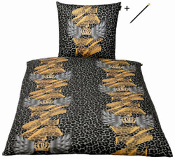 Harald Glööckler designer bed linen leo multicolored 155 x 220 cm + Casa Padrino Luxury Baroque Pencil with Crown Design