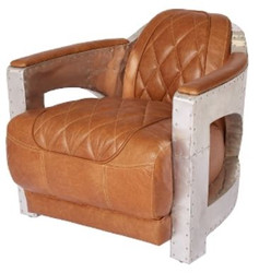 Casa Padrino genuine leather club armchair light brown / silver 75 x 89 x H. 70 cm - Luxury Collection