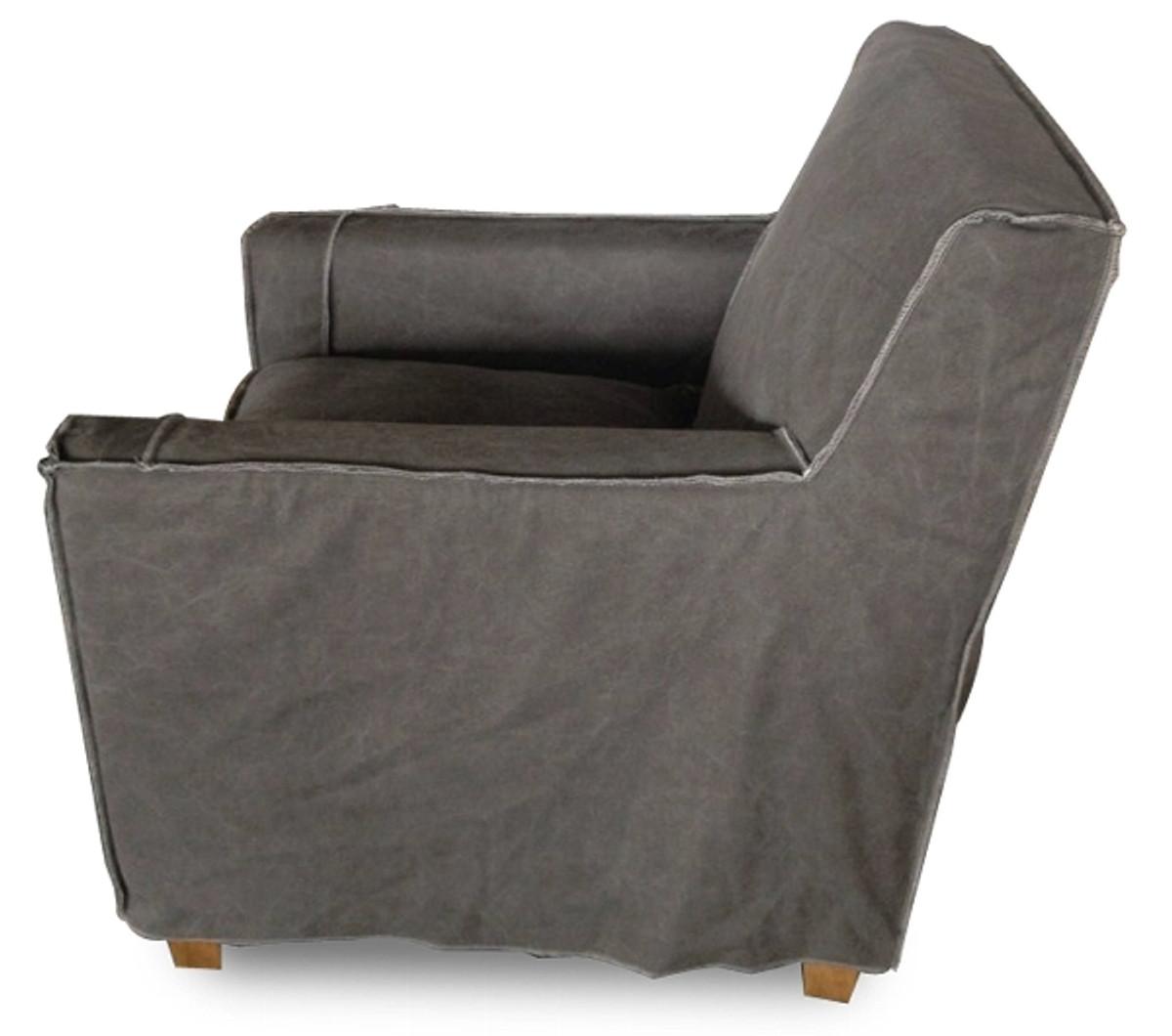 Casa Padrino Luxus Wohnzimmer Sessel Grau 82 x 80 x H. 81 cm - Wohnzimmermöbel 3