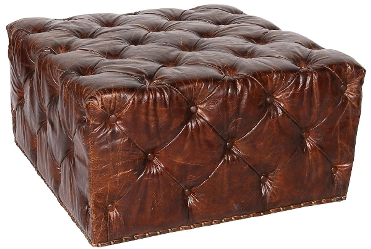 Casa Padrino Chesterfield Echtleder Fußhocker Dunkelbraun 80 x 80 x H. 42 cm - Luxus Qualität 1