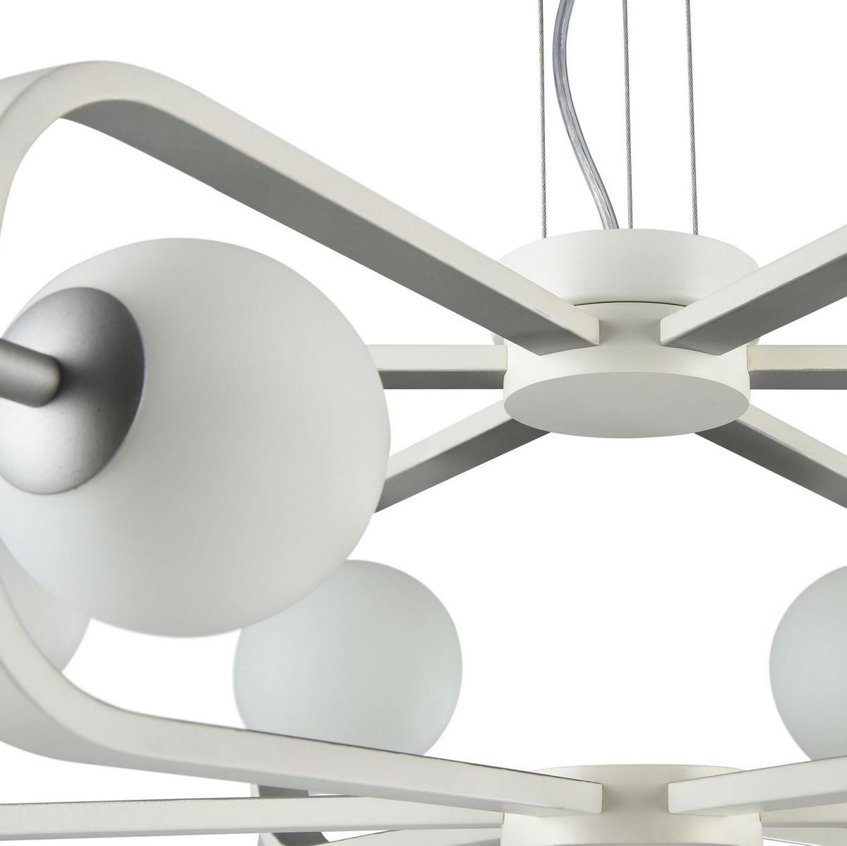 Casa Padrino Luxus Hängeleuchte Weiß / Silber Ø 65 x H. 20 cm - Luxus Kollektion 4