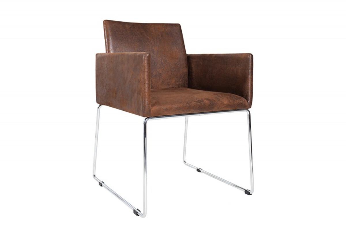 Casa Padrino Designer Stuhl mit Armlehnen Braun 55cm x 80cm x 60cm - Büromöbel 1