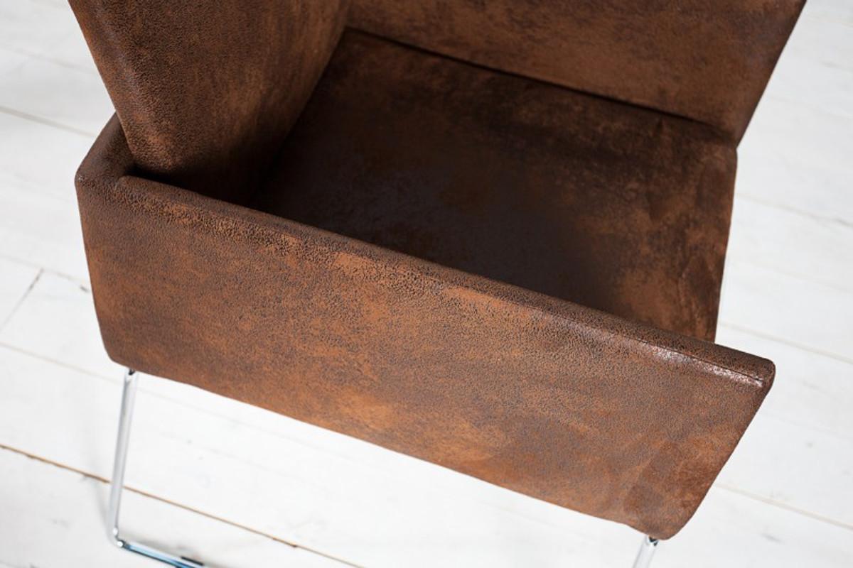 Casa Padrino Designer Stuhl mit Armlehnen Braun 55cm x 80cm x 60cm - Büromöbel 4