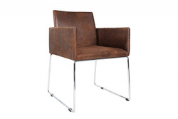 Casa Padrino designer chair with armrests Brown 55cm x 80cm x 60cm - Office furniture