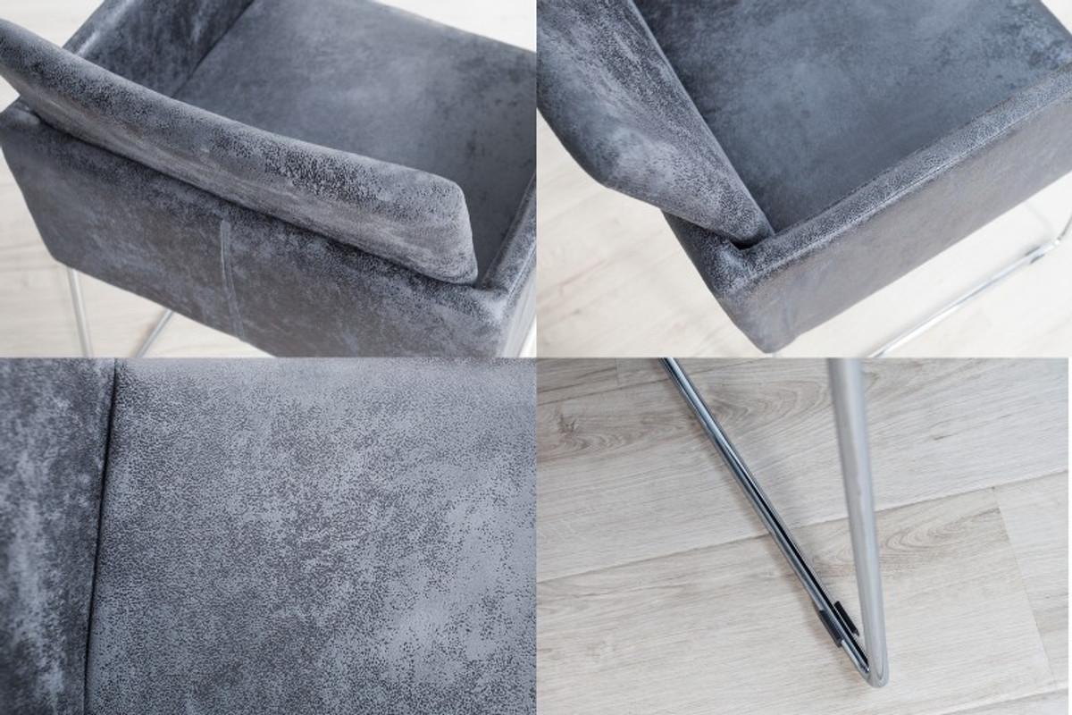 Casa Padrino Designer Stuhl mit Armlehnen Antik Grau 55cm x 80cm x 60cm - Büromöbel 3