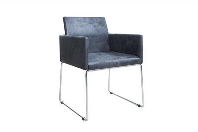 Casa Padrino Designer Stuhl mit Armlehnen Antik Grau 55cm x 80cm x 60cm - Büromöbel